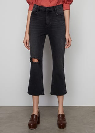 Black Cropped Kick Flare Jeans