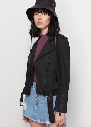 Black Twill Biker Jacket
