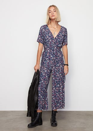 Cropped Floral Jumpsuit