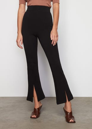 Flared Slit Front Trousers