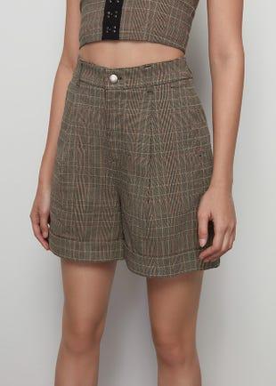 Plaid Wide Leg Shorts