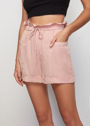 Pink Tencel Paperbag Shorts