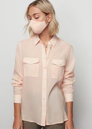 Semi Sheer Button Up Shirt