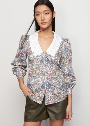 Floral Scallop Collar Top