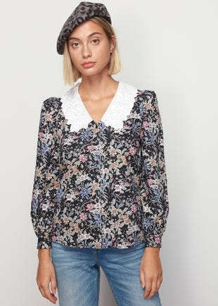 Printed Scallop Collar Top