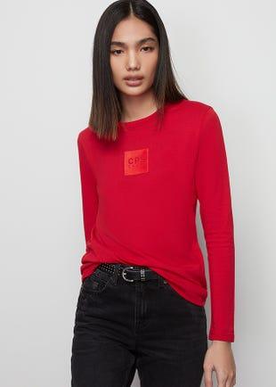 Long Sleeve Red Logo Tee