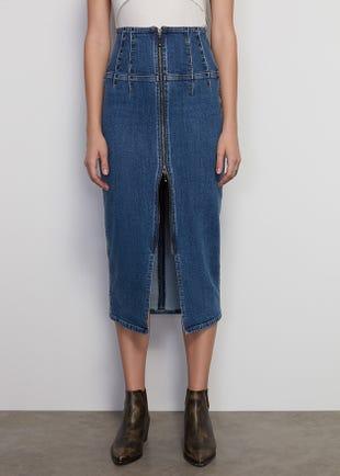 Double Zip Denim Skirt