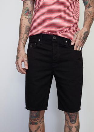 Black Raw Denim Shorts