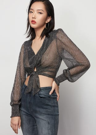 Sheer Knot Front Blouse
