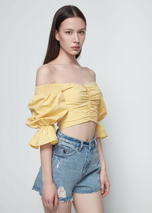 Cropped Off The Shoulder Top