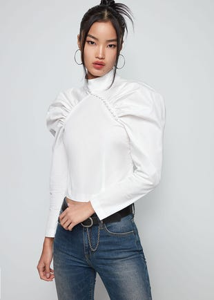 Puff Sleeve Mandarin Collar Shirt