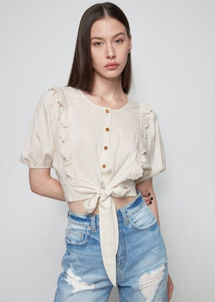 Puff Sleeve Bow Tie Blouse