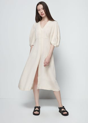 Volume Sleeve Midi Dress