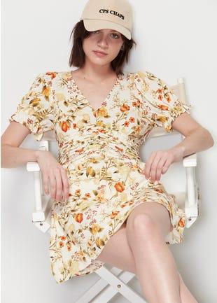 Floral Tie Sleeve Mini Dress