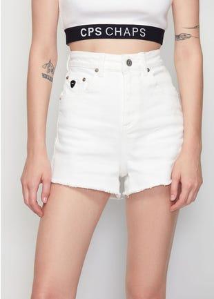 High Waist White Denim Shorts