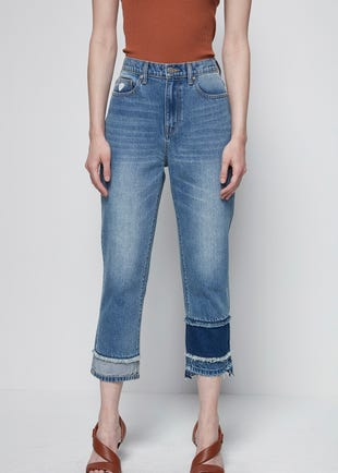 Cropped Mixed Denim Jeans
