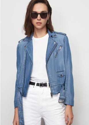 Tencel Denim Biker Jacket
