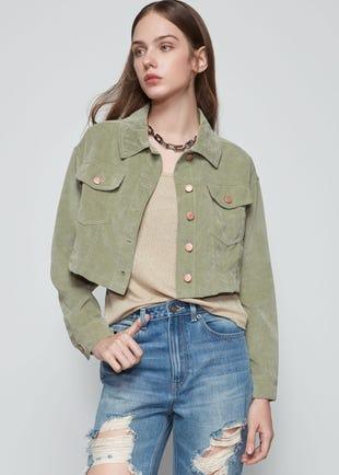 Cropped Green Corduroy Jacket