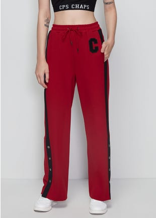 Red Snap Button Trousers