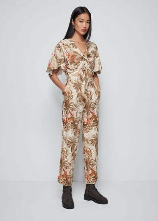 Tropical Tie Front Jumpsuit