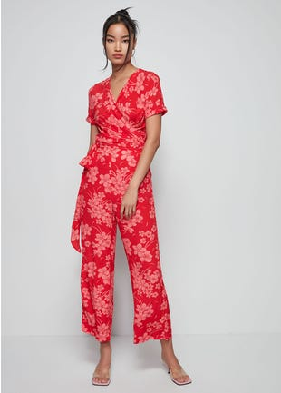 Floral Wrap top Jumpsuit