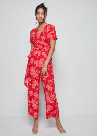 Floral Wrap top Jumpsuit