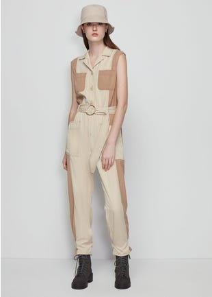 Belted Color Block Jumpsuit