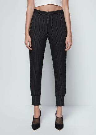 Cuffed Pinstripe Trousers