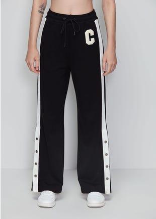 Black Snap Button Trousers