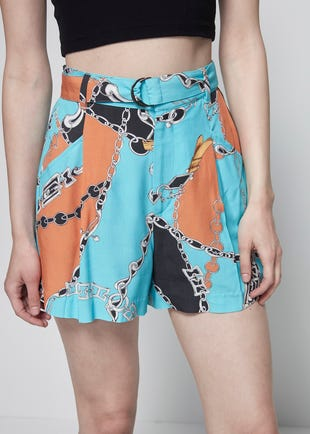 Belted Chain Print Shorts