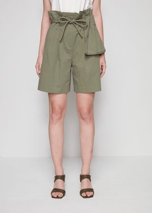 Green Rope Belt Bermuda Shorts