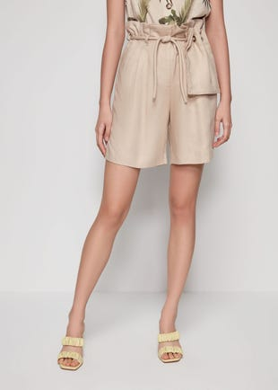 Beige Rope Belt Bermuda Shorts