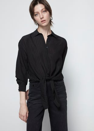Black Tie Front Shirt