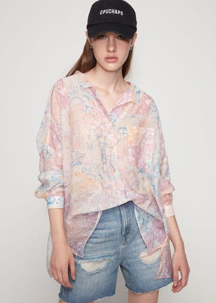 Printed Loose Fit Button Up Shirt