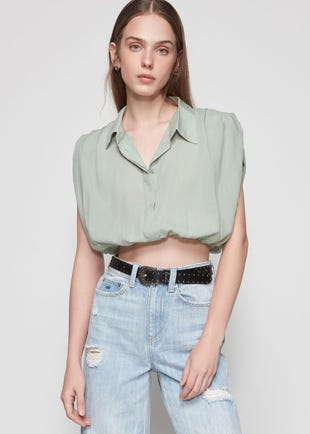Cropped Balloon Shirt