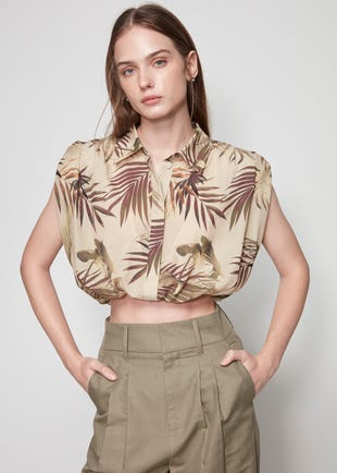 Cropped Tropical Balloon Shirt