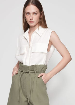 Sleeveless Flap Pocket Shirt