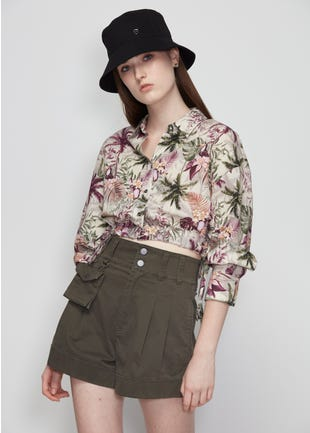 Cropped Floral Tie Waist Shirt