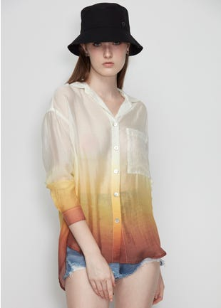 Semi Sheer Ombre Shirt