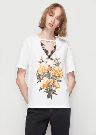 Lace Cut Out Graphic Tee