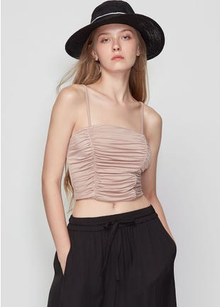 Ruched Crop Tank Top