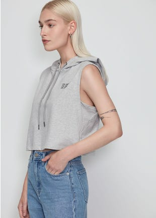 Grey Cropped Sleeveless Hoodie