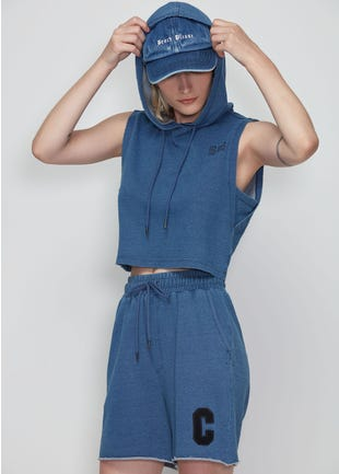 Blue Cropped Sleeveless Hoodie