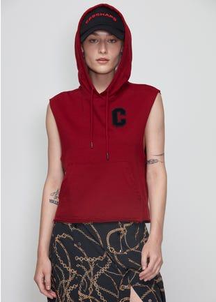 Red Sleeveless Hoodie