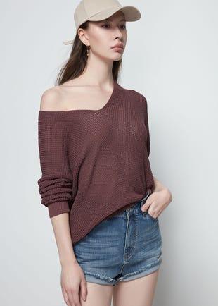 Sheer V-Neck Sweater