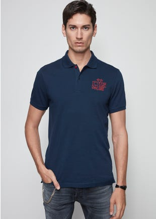 Embroidered 2-Button Polo Shirt