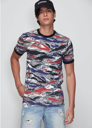 Colored Camo Ringer Tee
