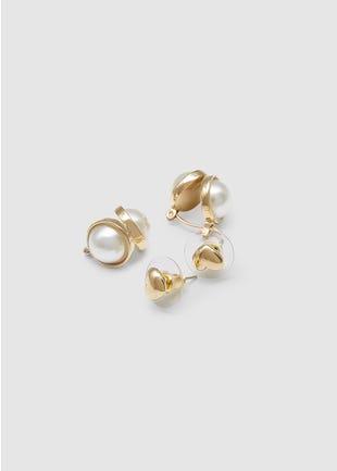 Hearts & Pearls Earring Set