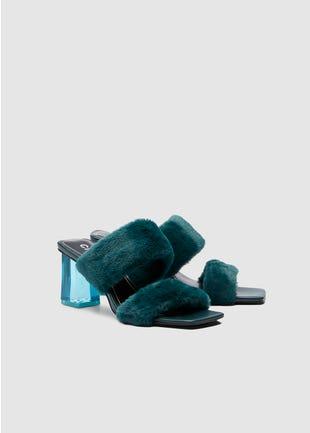 Faux Fur Block Heel Sandals