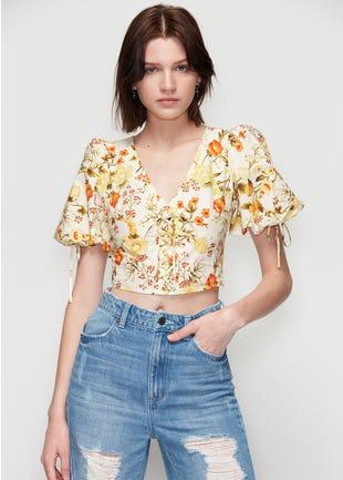 Floral Lace Up Crop Top